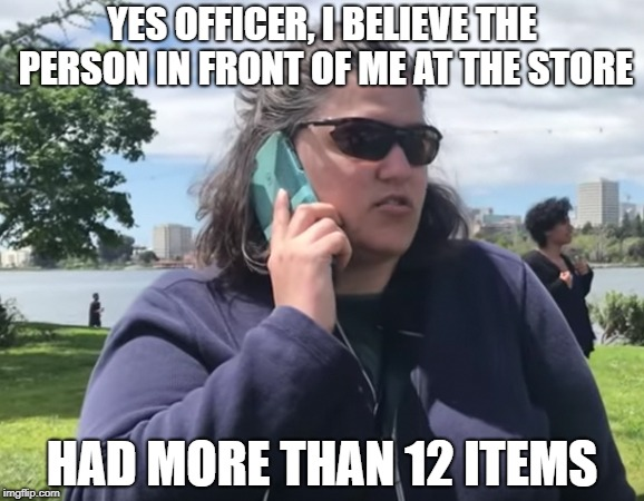 Supermarket Express Checkout Rage... | YES OFFICER, I BELIEVE THE PERSON IN FRONT OF ME AT THE STORE HAD MORE THAN 12 ITEMS | image tagged in becky,bbq,supermarket | made w/ Imgflip meme maker