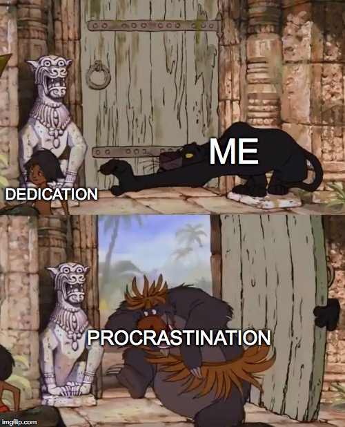 Why does this keep happening....  | ME DEDICATION PROCRASTINATION | image tagged in jungle book,memes | made w/ Imgflip meme maker