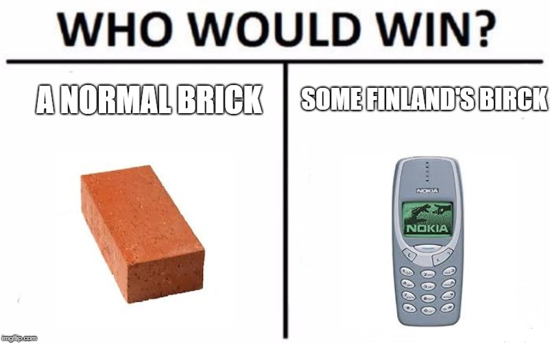 Who Would Win? Meme | A NORMAL BRICK SOME FINLAND'S BIRCK | image tagged in memes,who would win | made w/ Imgflip meme maker