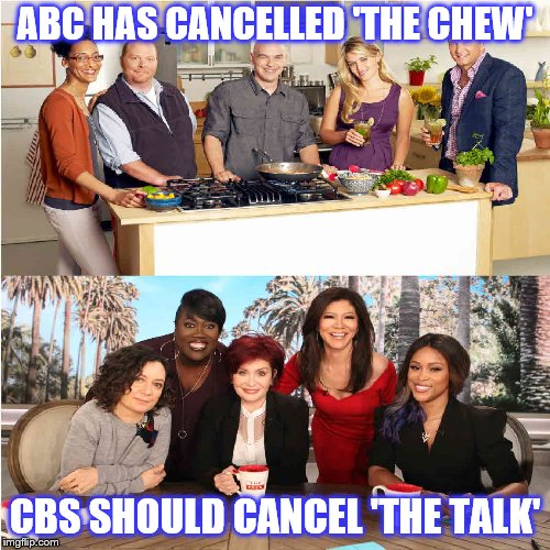 CANCEL | ABC HAS CANCELLED 'THE CHEW' CBS SHOULD CANCEL 'THE TALK' | image tagged in abc,cbs,the chew,the talk | made w/ Imgflip meme maker