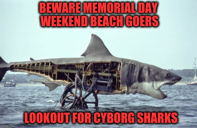 Relax this weekend and watch Jaws |  BEWARE MEMORIAL DAY WEEKEND BEACH GOERS; LOOKOUT FOR CYBORG SHARKS | image tagged in jaws,bruce,memorial day,pipe_picasso,beach | made w/ Imgflip meme maker