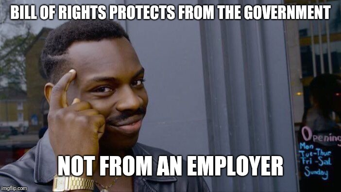 Roll Safe Think About It Meme | BILL OF RIGHTS PROTECTS FROM THE GOVERNMENT NOT FROM AN EMPLOYER | image tagged in memes,roll safe think about it | made w/ Imgflip meme maker