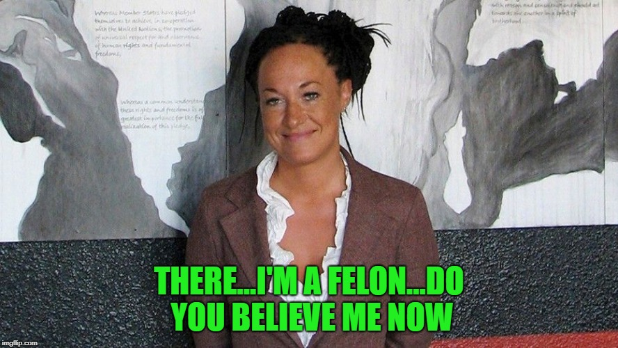 Rachel's committing felonies now! | THERE...I'M A FELON...DO YOU BELIEVE ME NOW | image tagged in rachel dolezal,memes,believe me now,funny,felon | made w/ Imgflip meme maker