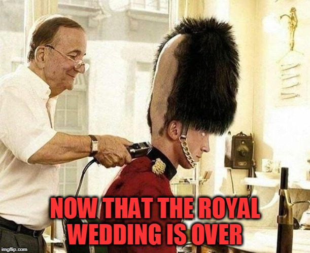 summer cut |  NOW THAT THE ROYAL WEDDING IS OVER | image tagged in royal wedding,guard | made w/ Imgflip meme maker