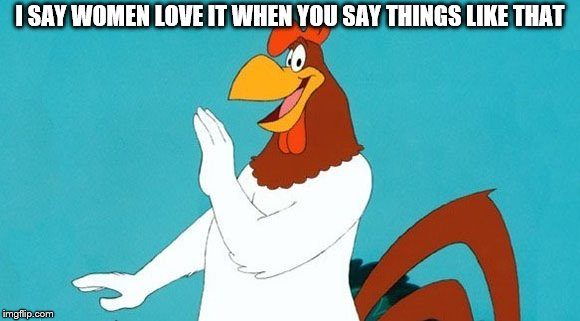 foghorn leghorn | I SAY WOMEN LOVE IT WHEN YOU SAY THINGS LIKE THAT | image tagged in foghorn leghorn | made w/ Imgflip meme maker