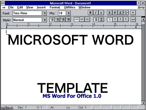 MICROSOFT WORD TEMPLATE | image tagged in ms word,memes | made w/ Imgflip meme maker