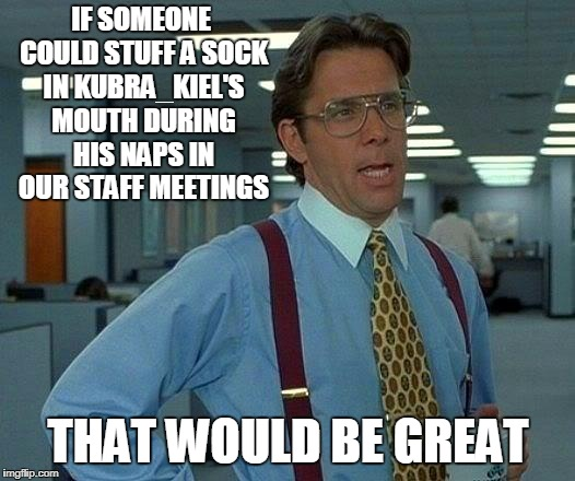 That Would Be Great Meme | IF SOMEONE COULD STUFF A SOCK IN KUBRA_KIEL'S MOUTH DURING HIS NAPS IN OUR STAFF MEETINGS THAT WOULD BE GREAT | image tagged in memes,that would be great | made w/ Imgflip meme maker