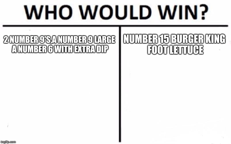 Who Would Win? Meme | 2 NUMBER 9'S,A NUMBER 9 LARGE A NUMBER 6 WITH EXTRA DIP NUMBER 15 BURGER KING FOOT LETTUCE | image tagged in memes,who would win | made w/ Imgflip meme maker