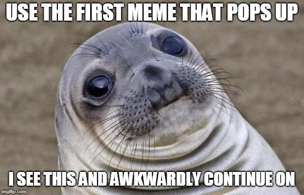 Hokeewolf, this ones for you | USE THE FIRST MEME THAT POPS UP I SEE THIS AND AWKWARDLY CONTINUE ON | image tagged in memes,awkward moment sealion,funny,awkward,first meme | made w/ Imgflip meme maker