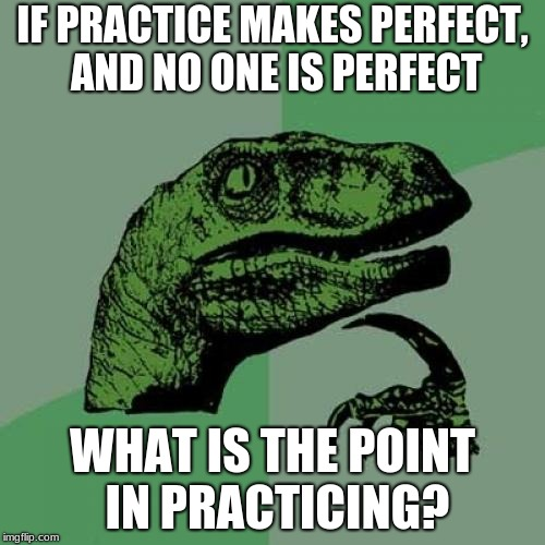 Philosoraptor Meme | IF PRACTICE MAKES PERFECT, AND NO ONE IS PERFECT WHAT IS THE POINT IN PRACTICING? | image tagged in memes,philosoraptor | made w/ Imgflip meme maker