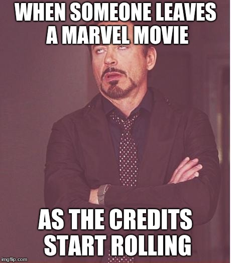 Face You Make Robert Downey Jr Meme | WHEN SOMEONE LEAVES A MARVEL MOVIE AS THE CREDITS START ROLLING | image tagged in memes,face you make robert downey jr | made w/ Imgflip meme maker