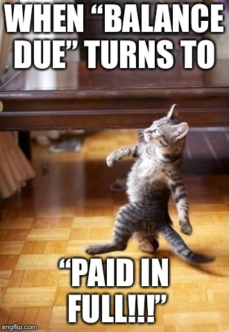 "Cool Cat Stroll Meme | WHEN ""BALANCE DUE"" TURNS TO ""PAID IN FULL!!!"" 