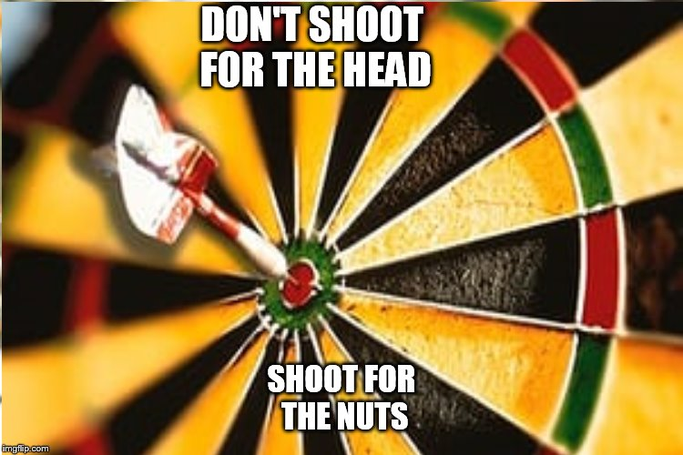 DON'T SHOOT FOR THE HEAD SHOOT FOR THE NUTS | made w/ Imgflip meme maker
