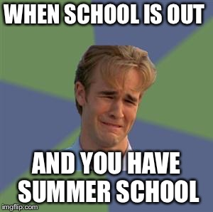 Sad Face Guy | WHEN SCHOOL IS OUT AND YOU HAVE SUMMER SCHOOL | image tagged in sad face guy | made w/ Imgflip meme maker