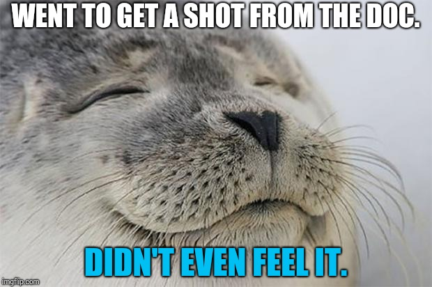 The REAL miracle docter! | WENT TO GET A SHOT FROM THE DOC. DIDN'T EVEN FEEL IT. | image tagged in memes,satisfied seal,funny,doctor | made w/ Imgflip meme maker