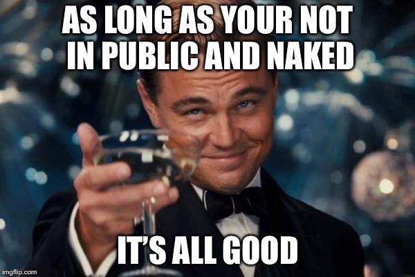 Leonardo Dicaprio Cheers Meme | AS LONG AS YOUR NOT IN PUBLIC AND NAKED IT'S ALL GOOD | image tagged in memes,leonardo dicaprio cheers | made w/ Imgflip meme maker