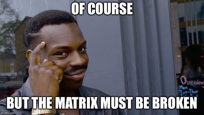 Roll Safe Think About It Meme | OF COURSE BUT THE MATRIX MUST BE BROKEN | image tagged in memes,roll safe think about it | made w/ Imgflip meme maker