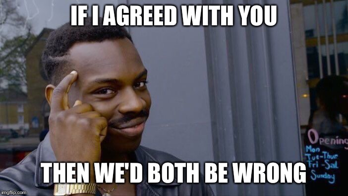 Roll Safe Think About It Meme | IF I AGREED WITH YOU THEN WE'D BOTH BE WRONG | image tagged in memes,roll safe think about it | made w/ Imgflip meme maker