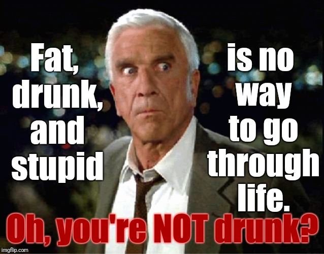 WELL... Uhh.... Hmmm..... Okay, then..... | Oh, you're NOT drunk? is no way to go through life. Fat, drunk, and stupid | image tagged in leslie nielsen,memes,drunk,fat,stupid | made w/ Imgflip meme maker