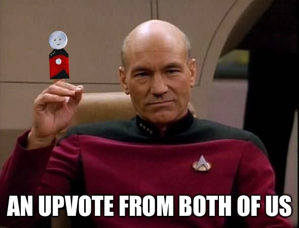 Picard with Puppet | AN UPVOTE FROM BOTH OF US | image tagged in picard with puppet | made w/ Imgflip meme maker