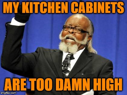 How dang high do they need to be? | MY KITCHEN CABINETS ARE TOO DAMN HIGH | image tagged in memes,too damn high,high kitchen cabinets,short person | made w/ Imgflip meme maker