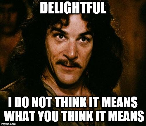 DELIGHTFUL I DO NOT THINK IT MEANS WHAT YOU THINK IT MEANS | made w/ Imgflip meme maker