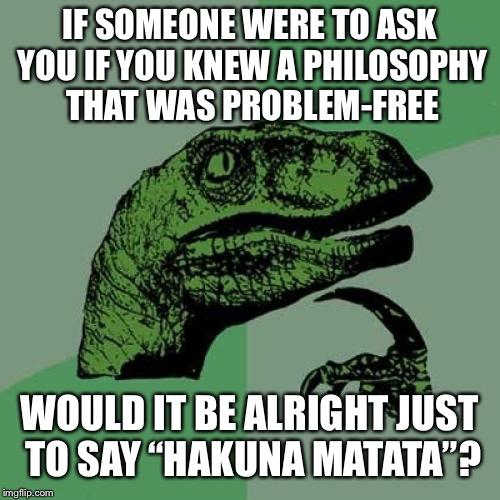 "Philosoraptor Meme | IF SOMEONE WERE TO ASK YOU IF YOU KNEW A PHILOSOPHY THAT WAS PROBLEM-FREE WOULD IT BE ALRIGHT JUST TO SAY ""HAKUNA MATATA""? 