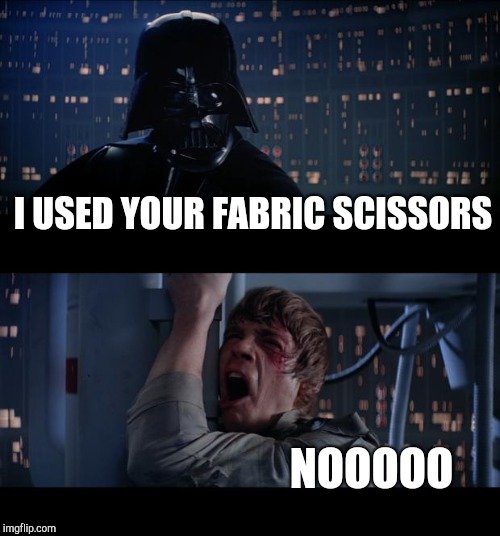 Star Wars No Meme | I USED YOUR FABRIC SCISSORS NOOOOO | image tagged in memes,star wars no | made w/ Imgflip meme maker