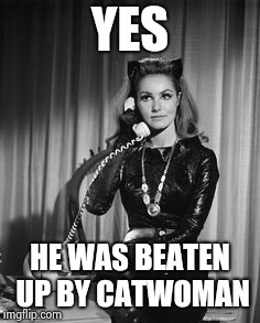 Catwoman calling | YES HE WAS BEATEN UP BY CATWOMAN | image tagged in catwoman calling | made w/ Imgflip meme maker