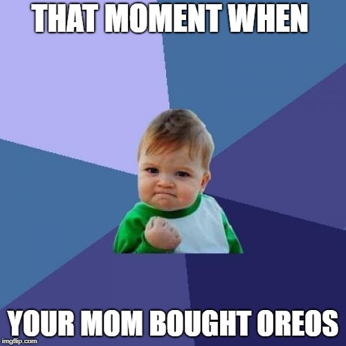 Success Kid Meme | THAT MOMENT WHEN YOUR MOM BOUGHT OREOS | image tagged in memes,success kid | made w/ Imgflip meme maker