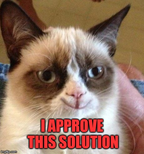 grumpy smile | I APPROVE THIS SOLUTION | image tagged in grumpy smile | made w/ Imgflip meme maker