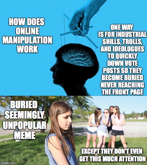 Way To Manipulate Society | EXCEPT THEY DON'T EVEN GET THIS MUCH ATTENTION BURIED SEEMINGLY UNPOPULAR MEME | image tagged in online manipulation,down voting,shills,trolls,buried,ideologues | made w/ Imgflip meme maker