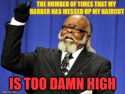 "I said ""the usual"", not ""combination of bullcut, mowhawk, and flat-top""!!!! 