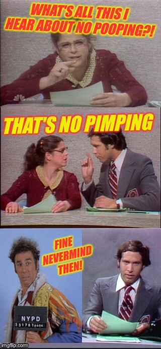WHAT'S ALL THIS I HEAR ABOUT NO POOPING?! THAT'S NO PIMPING FINE NEVERMIND THEN! | made w/ Imgflip meme maker