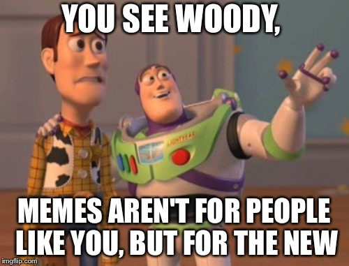 X, X Everywhere Meme | YOU SEE WOODY, MEMES AREN'T FOR PEOPLE LIKE YOU, BUT FOR THE NEW | image tagged in memes,x x everywhere | made w/ Imgflip meme maker