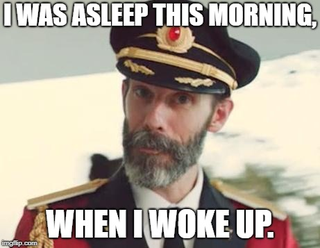 Captain Obvious | I WAS ASLEEP THIS MORNING, WHEN I WOKE UP. | image tagged in captain obvious | made w/ Imgflip meme maker