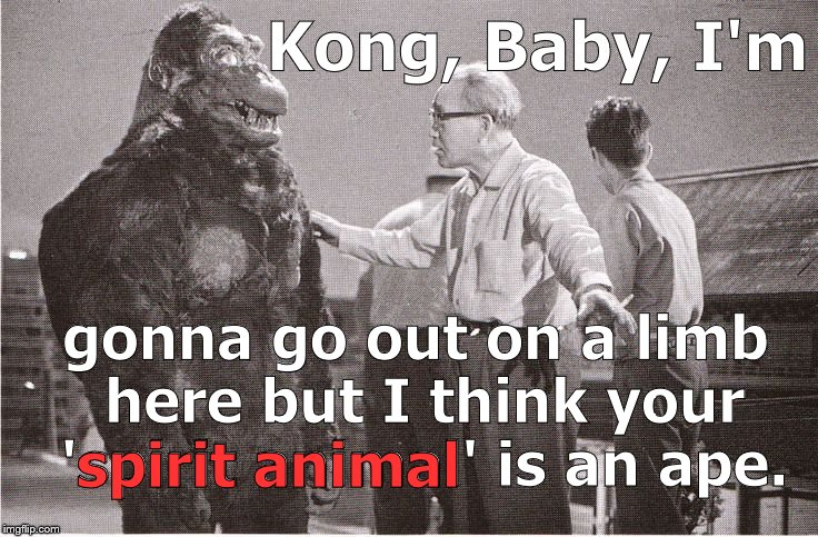 Ishii-san trying to get Kong back on track & focused on the film instead of his latest Facebook distraction.   | Kong, Baby, I'm gonna go out on a limb here but I think your 'spirit animal' is an ape. spirit animal | image tagged in kong with director,spirit animals,facebook,out on a limb,one great ape,douglie | made w/ Imgflip meme maker