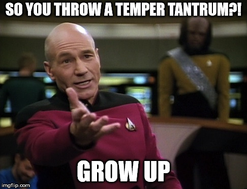 SO YOU THROW A TEMPER TANTRUM?! GROW UP | made w/ Imgflip meme maker