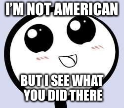 just cute | I'M NOT AMERICAN BUT I SEE WHAT YOU DID THERE | image tagged in just cute | made w/ Imgflip meme maker
