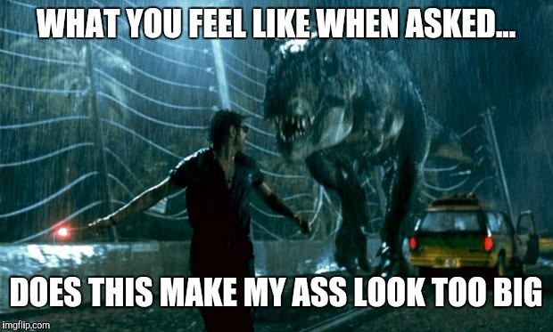 Jurassic Park - Running Late | WHAT YOU FEEL LIKE WHEN ASKED... DOES THIS MAKE MY ASS LOOK TOO BIG | image tagged in jurassic park - running late | made w/ Imgflip meme maker