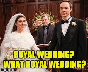 Sheldon and Amy wedding | ROYAL WEDDING? WHAT ROYAL WEDDING? | image tagged in sheldon big bang theory | made w/ Imgflip meme maker