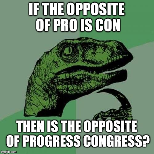 Philosoraptor Meme | IF THE OPPOSITE OF PRO IS CON THEN IS THE OPPOSITE OF PROGRESS CONGRESS? | image tagged in memes,philosoraptor | made w/ Imgflip meme maker