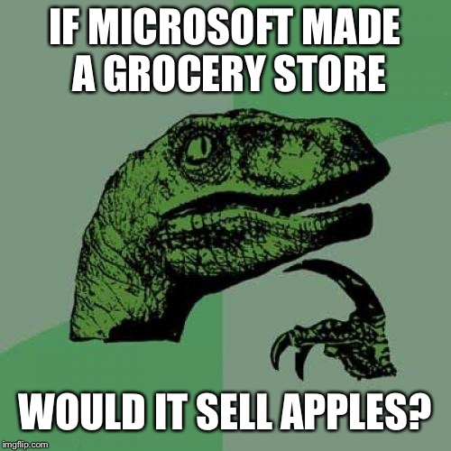 Philosoraptor Meme | IF MICROSOFT MADE A GROCERY STORE WOULD IT SELL APPLES? | image tagged in memes,philosoraptor | made w/ Imgflip meme maker