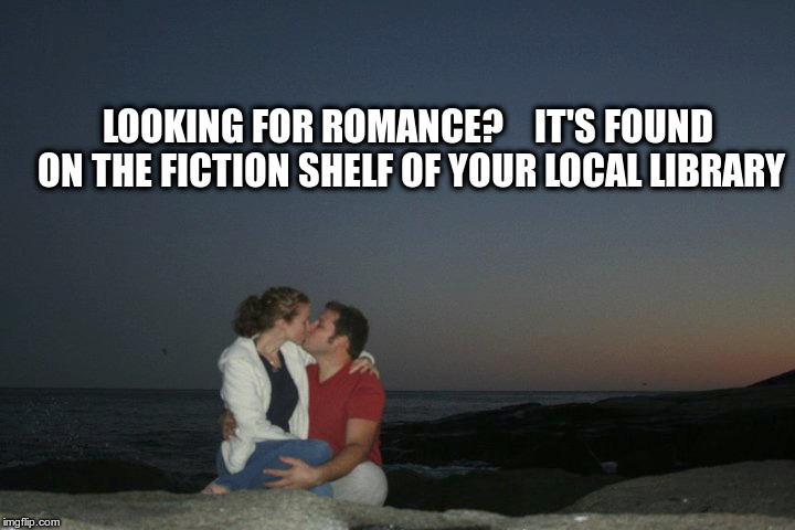 LOOKING FOR ROMANCE?    IT'S FOUND ON THE FICTION SHELF OF YOUR LOCAL LIBRARY | image tagged in romance | made w/ Imgflip meme maker