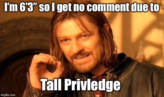 "One Does Not Simply Meme | I'm 6'3"" so I get no comment due to Tall Privilege 