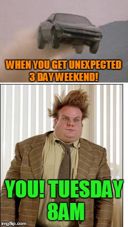 Live Hard, Die Anyway! | WHEN YOU GET UNEXPECTED 3 DAY WEEKEND! YOU! TUESDAY 8AM | image tagged in chris farley,work sucks,three day weekend | made w/ Imgflip meme maker