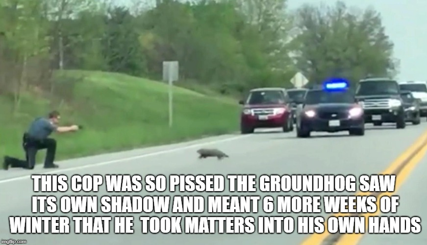 Groundhog | THIS COP WAS SO PISSED THE GROUNDHOG SAW ITS OWN SHADOW AND MEANT 6 MORE WEEKS OF WINTER THAT HE  TOOK MATTERS INTO HIS OWN HANDS | image tagged in police,cop,shoots,groundhog | made w/ Imgflip meme maker