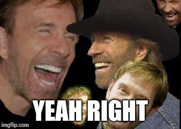 Chuck Norris LOL | YEAH RIGHT | image tagged in chuck norris lol | made w/ Imgflip meme maker