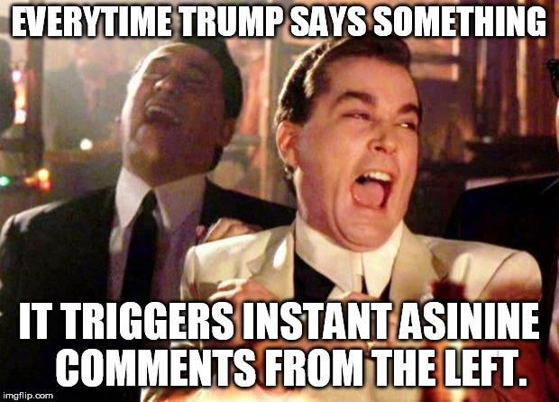 Wise guys laughing | EVERYTIME TRUMP SAYS SOMETHING IT TRIGGERS INSTANT ASININE   COMMENTS FROM THE LEFT. | image tagged in wise guys laughing | made w/ Imgflip meme maker