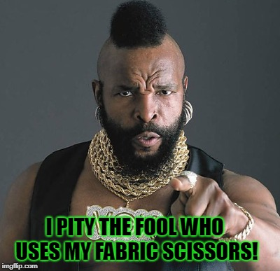 I PITY THE FOOL WHO USES MY FABRIC SCISSORS! | made w/ Imgflip meme maker